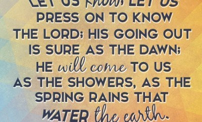 Let us know; let us press on to know the LORD; his going out is sure as the dawn; he will come to us as the showers, as the spring rains that water the earth.