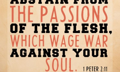 Abstain from the passions of the flesh, which wage war against your soul