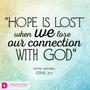 Hope is lost when we lose our connection with God