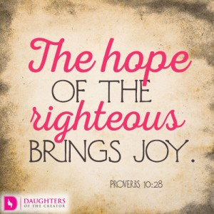 The hope of the righteous brings joy