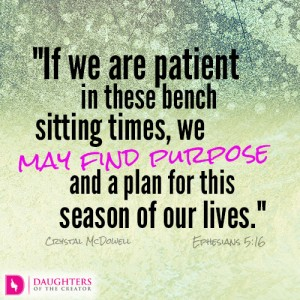 if we are patient in these bench sitting times, we may find purpose and a plan for this season of our lives
