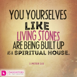 You yourselves like living stones are being built up as a spiritual house