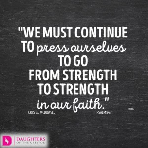 we must continue to press ourselves to go from strength to strength in our faith.