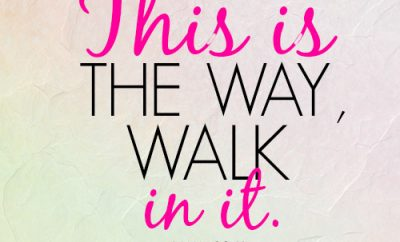 This is the way, walk in it.