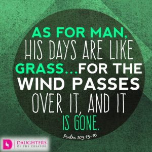 As for man, his days are like grass…for the wind passes over it, and it is gone