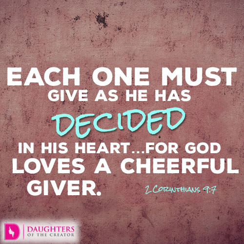 "god loves a cheerful giver ""god loves a cheerful giver"" jehovah is the personification of generosity indeed, the bible says that he is the giver of ""every good gift and every perfect."