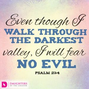 Even though I walk through the darkest valley, I will fear no evil