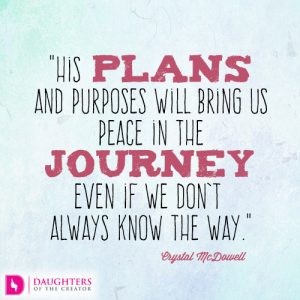 His plans and purposes will bring us peace in the journey even if we don't always know the way