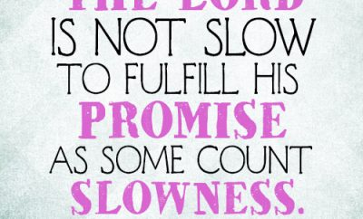The Lord is not slow to fulfill his promise as some count slowness