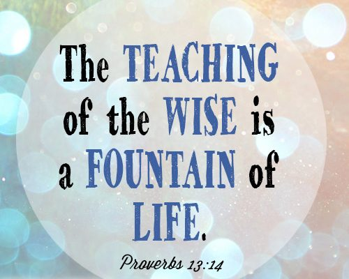The teaching of the wise is a fountain of life