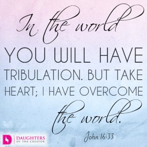 In the world you will have tribulation. But take heart; I have overcome the world