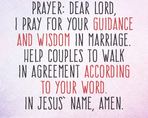 Dear Lord, I pray for Your guidance and wisdom in marriage. Help couples to walk in agreement according to Your word. In Jesus' name, amen.