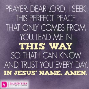 Dear Lord, I seek this perfect peace that only comes from You. Lead me in this way so that I can know and trust You every day. In Jesus' name, amen.